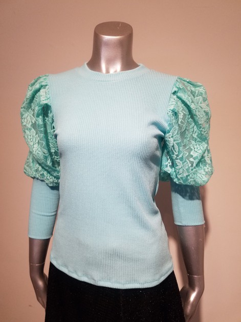 lace puff sleeve top - orangeshine.com