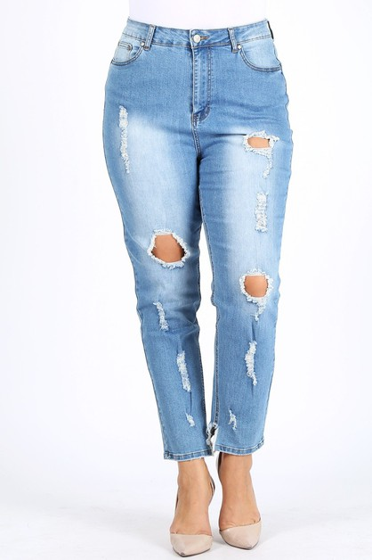 Plus High Waist Ripped Skinny Jean - orangeshine.com