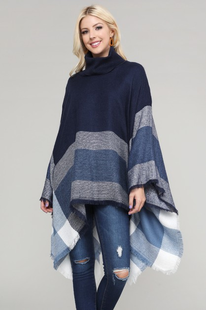 Women Pull over color-blocked poncho - orangeshine.com