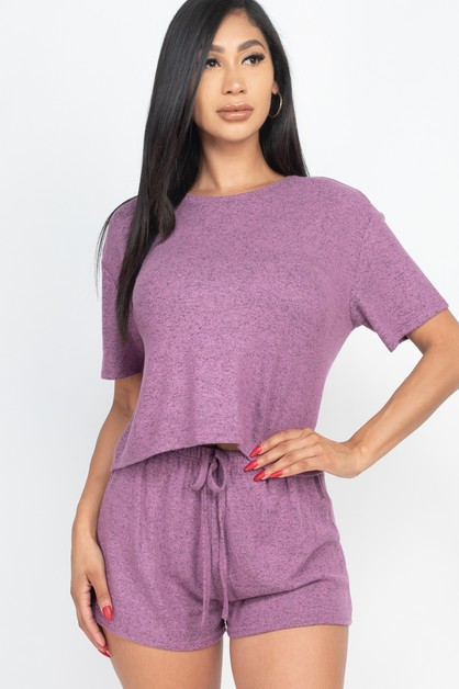 Two-tone Knit Top and Shorts Set - orangeshine.com