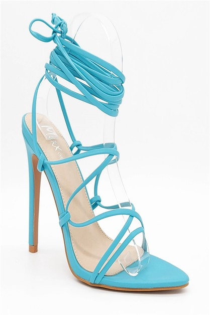 Stiletto Heel Lace Up Sandals - orangeshine.com