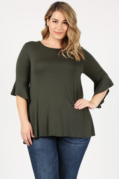 Plus Size solid flyaway sleeve TOP - orangeshine.com