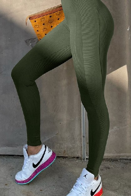 Solid Color Knit Tight Fitness Pants - orangeshine.com