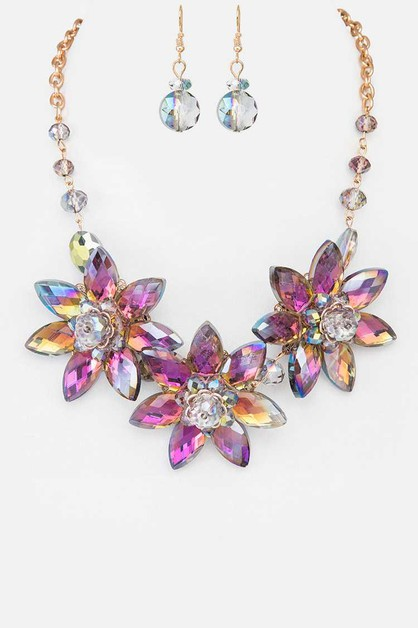 Crystal Flower Statement Necklace Se - orangeshine.com