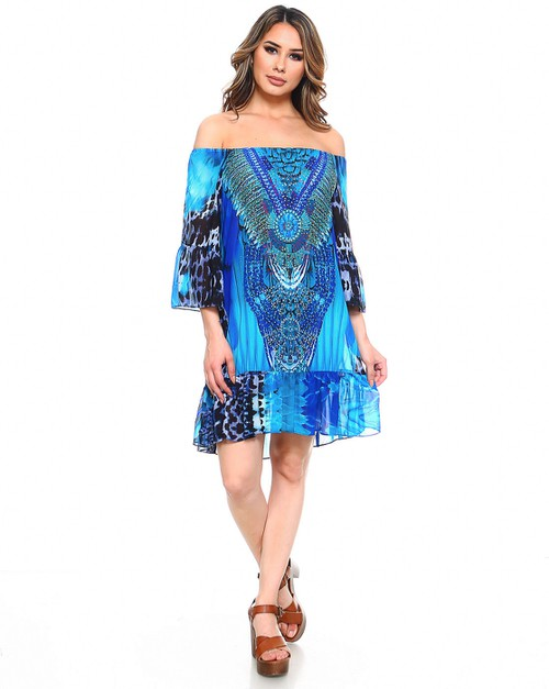 Off Shoulder Boho Beach Dress   - orangeshine.com
