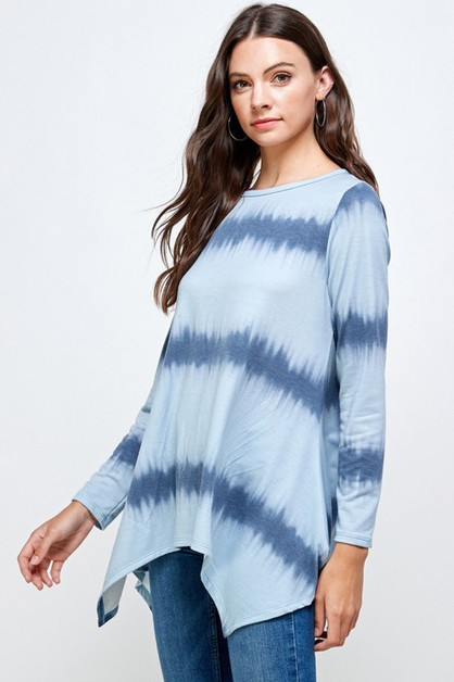 STRIPE TIE DYE SHARK TAIL TOP - orangeshine.com