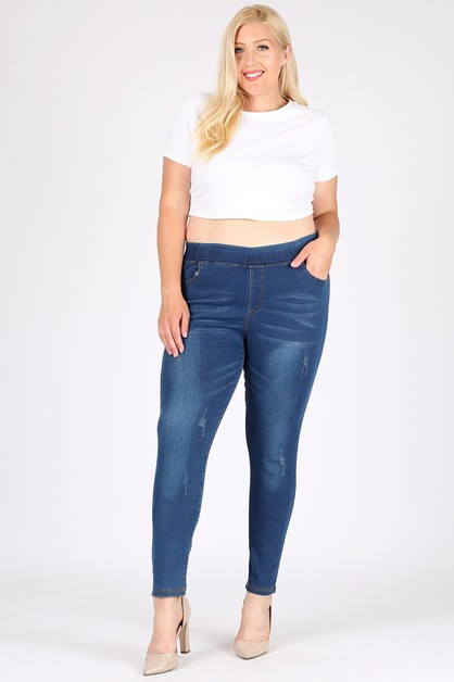 PLUS SIZE HIGH WAIST GRINDED JEGGING - orangeshine.com
