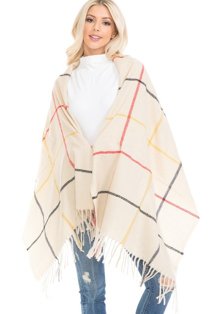 PLAID PATTERN FRINGED SHAWL PONCHO - orangeshine.com