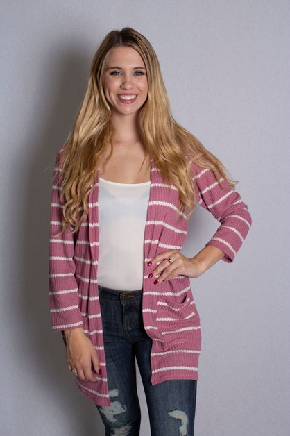 Waffle Knit Cardigan With Pockets - orangeshine.com
