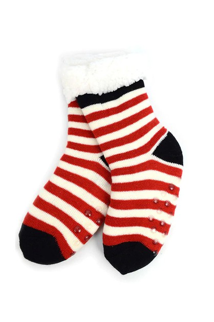 Girls Plush Red Stripes Sherpa Socks - orangeshine.com