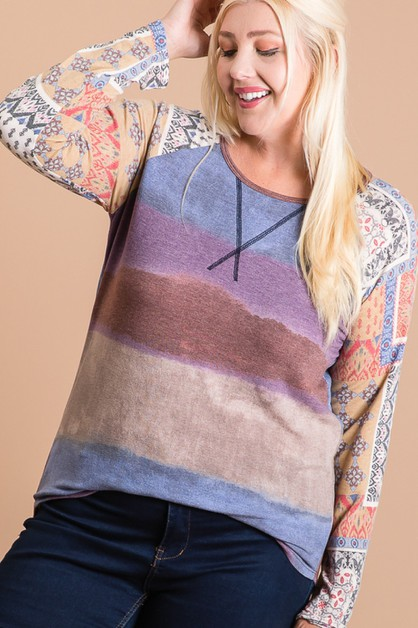 PLUS-COLOR BLOCK RAGLAN SLEEVE TOP - orangeshine.com