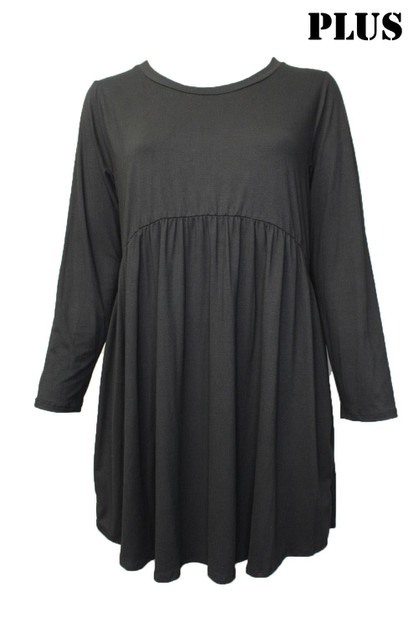 Plus Size Long Sleeve Tunic Dress - orangeshine.com