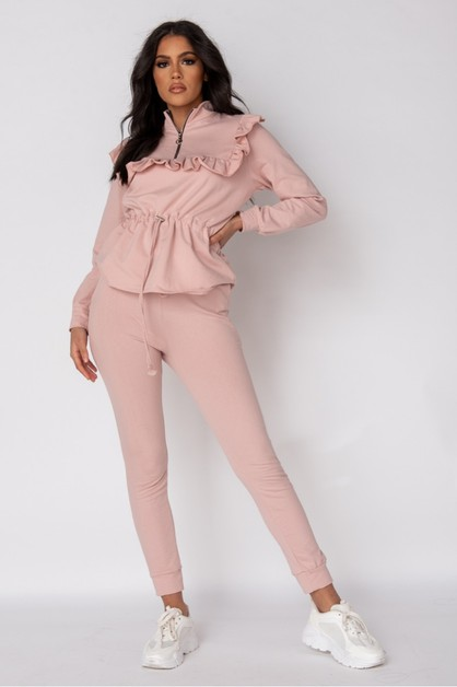 Frill Trim Top and Jogger Lounge Set - orangeshine.com