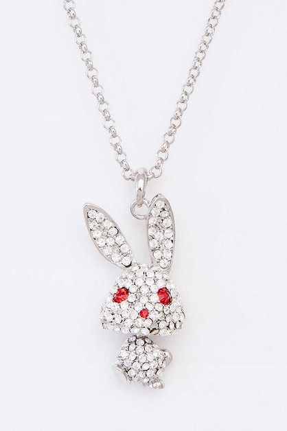 Crystal Bunny Pendant Necklace - orangeshine.com