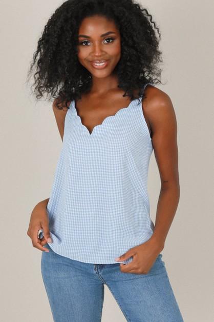 Blue Houndstooth Scallop Top - orangeshine.com