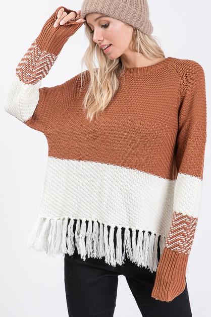 Color Block knit sweater with fringe - orangeshine.com