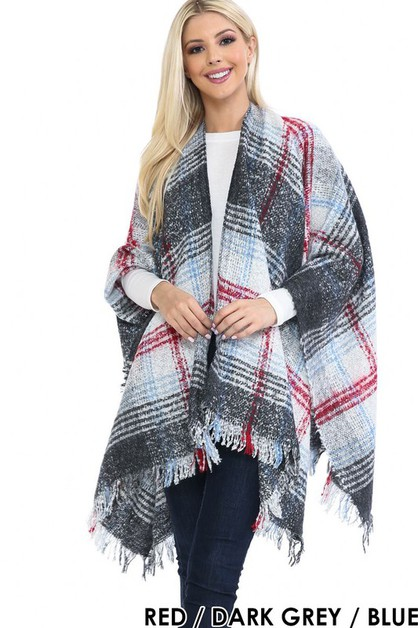 PLAID KNIT SWEATER PONCHO - orangeshine.com