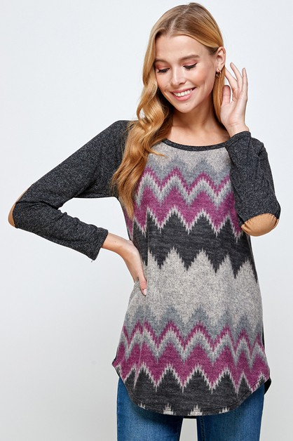 ZIGZAG PATTERNED ELBOW PATCH TOP - orangeshine.com