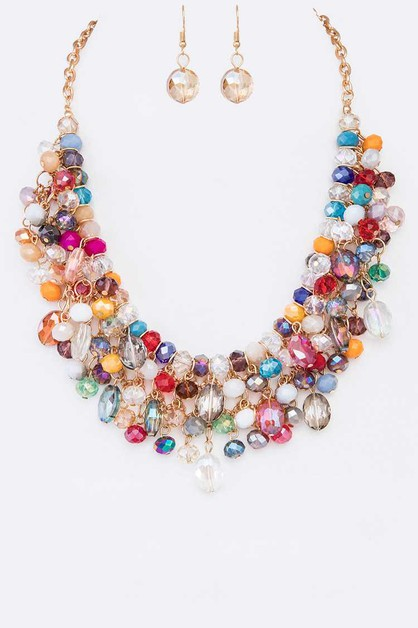 Mix Crystal Statement Necklace Set - orangeshine.com