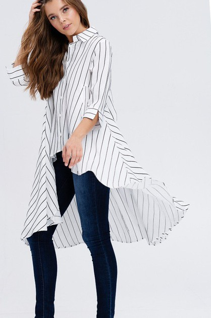 Stripe Hi-Lo Peplum top - orangeshine.com
