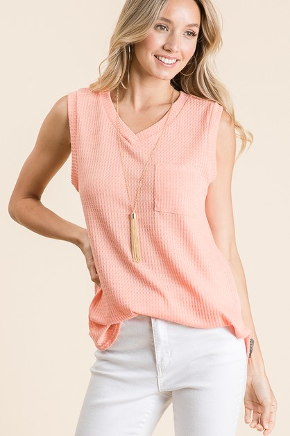 V-NECK WAFFLE KNIT SLEEVELESS TOP - orangeshine.com