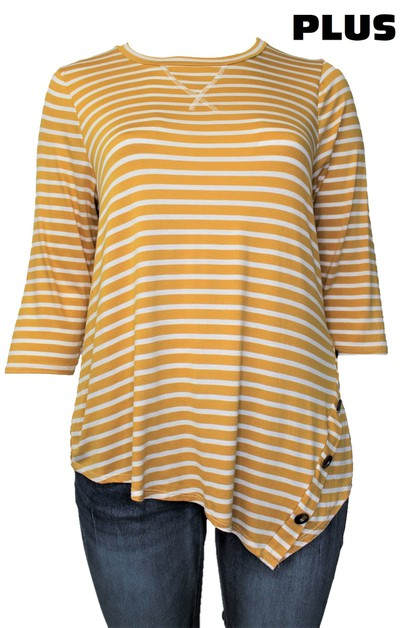 Round Neck Stripe Top with Button De - orangeshine.com