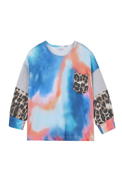 Blue coral leopard mommy me shirt - orangeshine.com