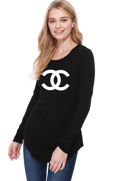 Long Sleeve Curved Hem Fashion Top - orangeshine.com