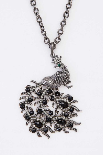 Crystal Peacock Pendant Necklace - orangeshine.com