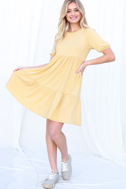 Flounce Ribbed Dress - orangeshine.com