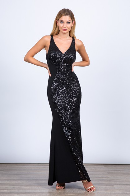 Sequins Bodycon Maxi Dress - orangeshine.com