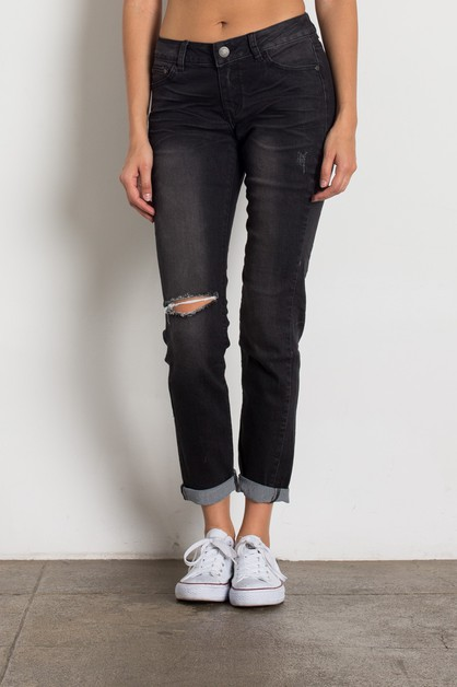 Mid Rise Ripped Dark Grey Jeans - orangeshine.com