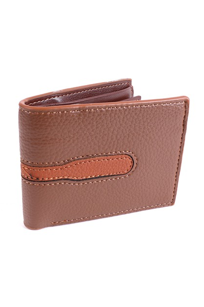 Mens Brown Striped Bi-fold Wallet  - orangeshine.com
