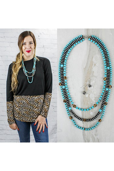 Beaded Layered Necklace Turquoise - orangeshine.com