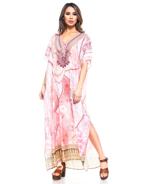 Embellished Fashion Resort Kaftan - orangeshine.com