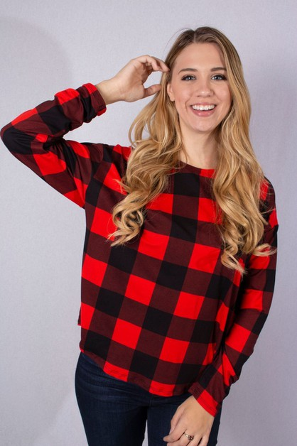 Long Sleeve Round Neck Plaid Top - orangeshine.com
