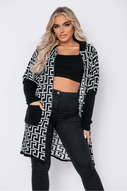 Geometric Hooded Cardigan - orangeshine.com