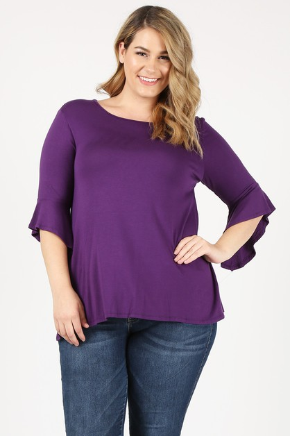 Plus Size Three-Quarter Sleeve Top - orangeshine.com