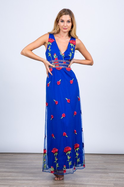Floral Embroidered Vneck Maxi Dress - orangeshine.com