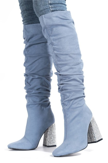 Thigh High Chunky Heel Boots - orangeshine.com