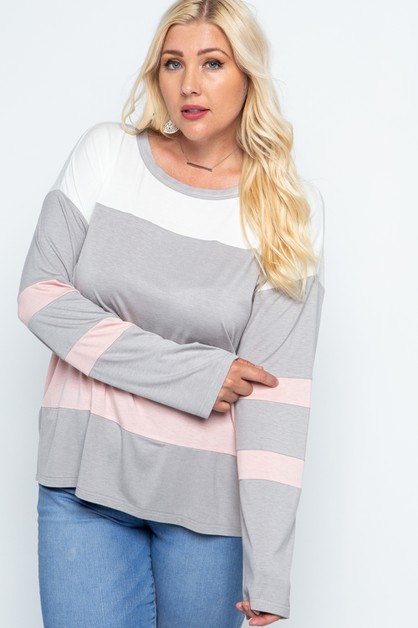 Color Block Long Sleep Soft Knit Top - orangeshine.com