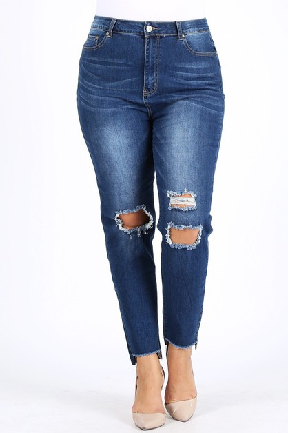 PLUS SIZE DARK WASH RIPPED JEANS - orangeshine.com