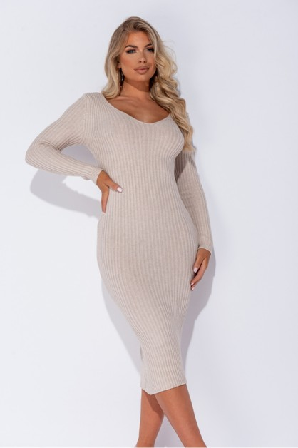 V Neck Long Sleeve Knitted Dress - orangeshine.com