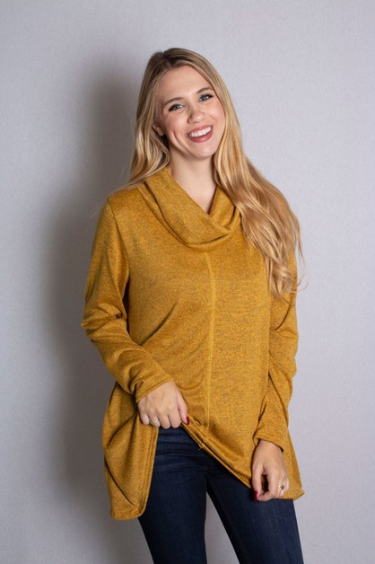Long Sleeve Cowl Neck Top - orangeshine.com