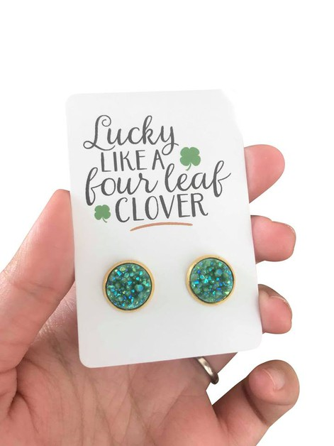 Green Druzy in Gold Studs  - orangeshine.com