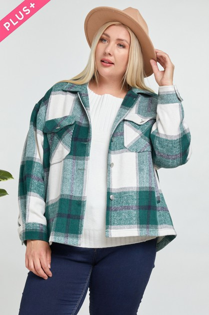Oversize Plaid Shirt Jacket - orangeshine.com