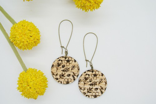 Floral Engraved Wood Earrings - orangeshine.com