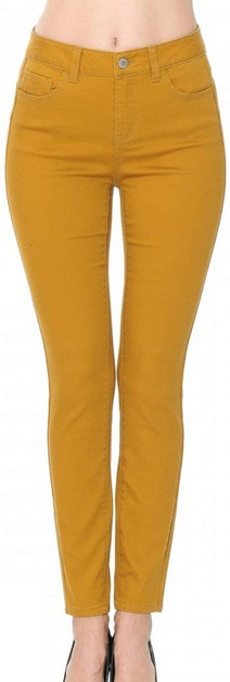Push-Up High-Rise Twill Color Pants - orangeshine.com
