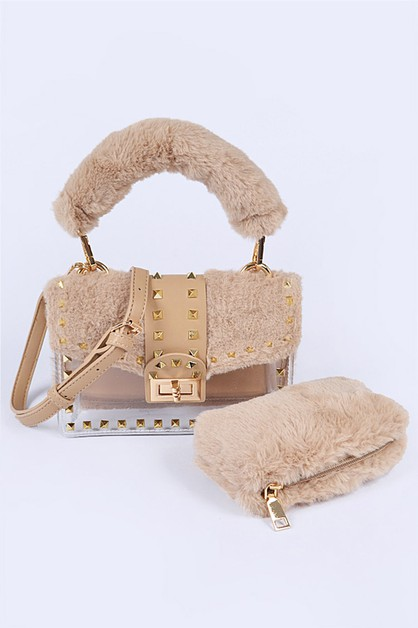 Faux Fur Studded 2 In 1 Iconic Bag - orangeshine.com