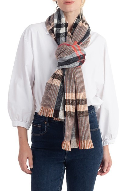 PLAID RIBBED KNIT SCARF - orangeshine.com